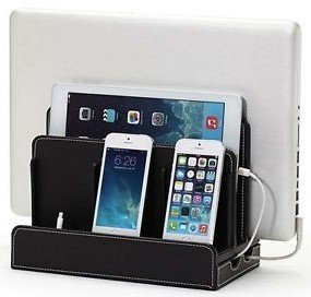 Black Leatherette Multi-Device Charging Station for Laptop, Tablet, Phone