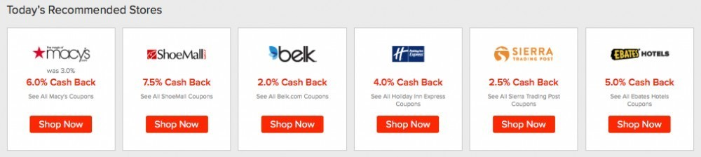 Ebates -today's recommended stores