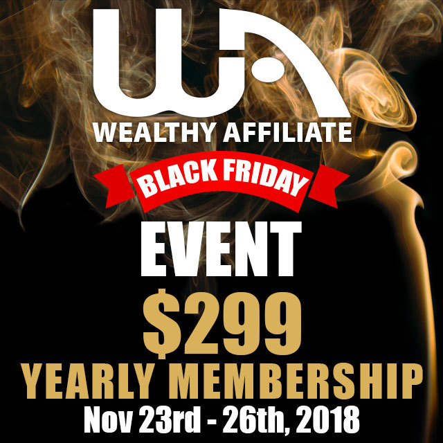 Wealthy Affiliate Black Friday deal 2018