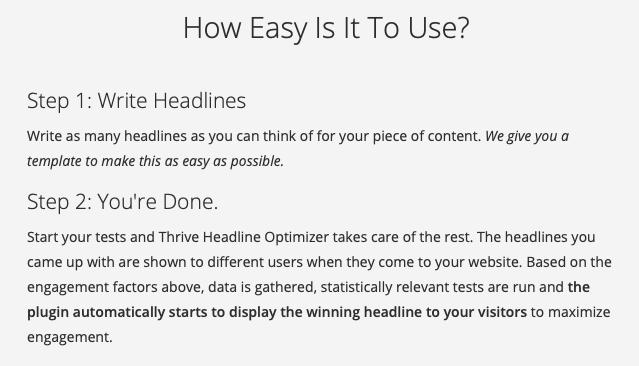Thrive Headline Optimizer steps