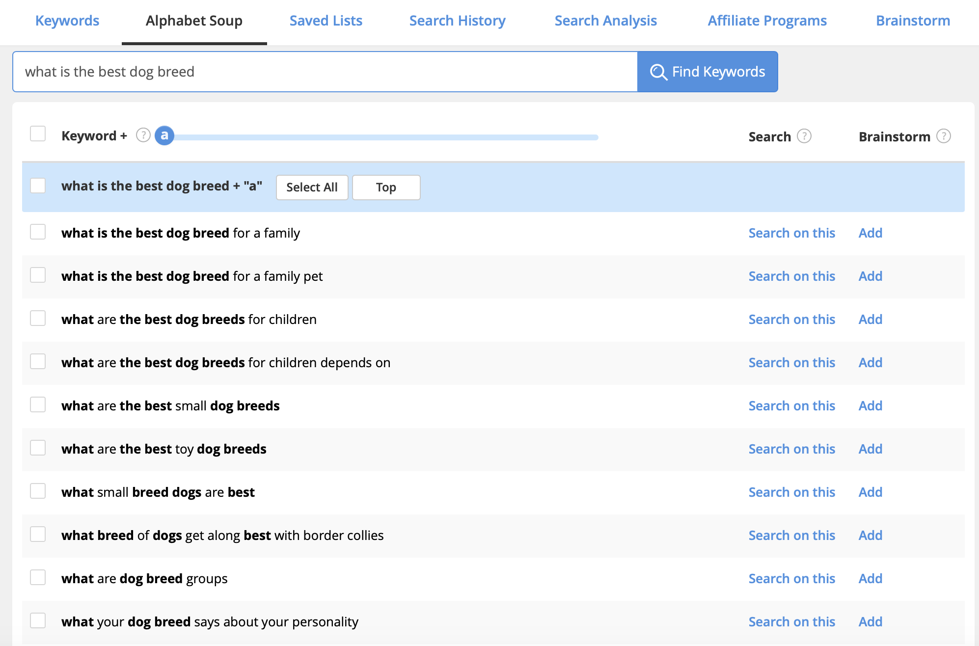 Jaaxy, the best keyword research tool, alphabet soup