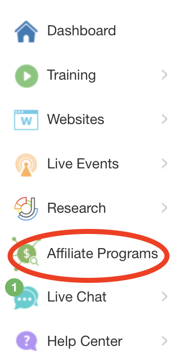 Wealthy Affiliate menu May 2019